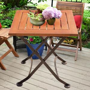 Außen Bistro Tisch Stahl Eukalyptus Garten Balkon Terrassen Möbel klappbar Holz