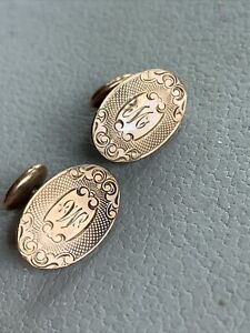 Antique Rose Gold Filled Oval Etched Initial M W Ornate Cufflinks Beautiful