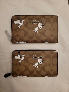 Coach X Peanuts Medium Id Zip Wallet In Signatur Canvas W Snoopy Print C4123 NWT