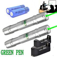 2Pc 500Miles 532nm Green Laser Pointer Pen Visible Beam 18650 Lazer+Charger Usa
