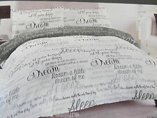 DREAM SCRIPT GREY AND WHITE KING SIZE DUVET COVER & PILLOW SET SHABBY CHIC STYLE
