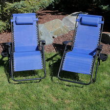 Sunnydaze Oversized Zero Gravity Chairs and Cup Holders - Set of 2 - Navy Blue