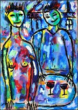 COUPLE DE CLOWNS modern art oil painting Jean Mirre coté ARTPRICE AKOUN