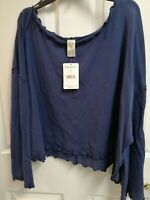Free People Olivia Sheer Lace Long Sleeve Top OB1037937 Navy L NWT $98