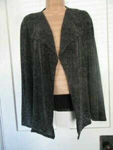 M&S LONG SLEEVE CARDIGAN CLASSIC BLACK AND SILVER LUREX OPEN FRONT LADIES U.K12