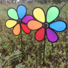 Rainbow Wind Spinner Toy Ground Stake Outdoor Yard Garden Decor Spinner XJ