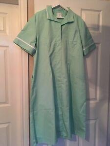 BNWT Alexandra LB3 Nurses Carers Work Uniform Dress in Green white Trim Size 24