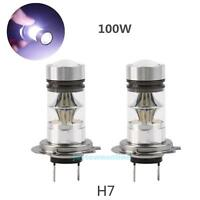 2X H7 100W White CREE LED Fog DRL Driving Car Head Light Lamp Bulbs Super Bright