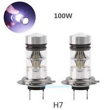 2X H7 100W White CREE LED Fog DRL Driving Car Head Light Lamp Bulbs Super Bright