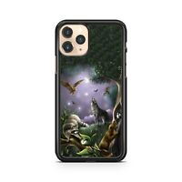 Crescent Moon Howling Wolf Animal Paradise Heavenly Forest Fine Phone Case Cover