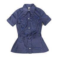 Vintage Women's Jantzen Top Blouse Size S Small Blue Polka Dot Tie Waist 50s 60s