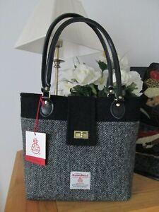 Ladies Harris Tweed Purple Check Small Tote Bag Brora LB1228 COL51