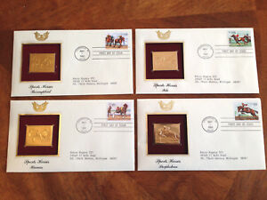 US FDC 1993 Sports Horses 4 First Day Covers w 22K Gold Stamp Replicas Addr |