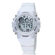 Ohsen Children Girls Boy White Day Water Proof Sport Digital Quartz Wrist Watch