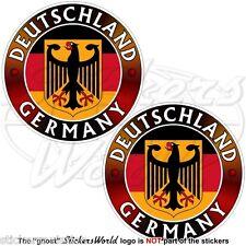 GERMANY DEUTSCHLAND Flag-Coat of Arms German Eagle Deutsch 75mm Sticker Decal x2