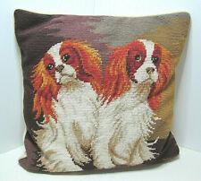 "Wonderful Vintage King Charles Cavalier Spaniels Needlepoint Pillow 14"" X 14"""