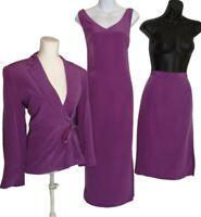 Ladies Silk Occasion Suit 3-piece Skirt Dress Jacket Size 14 Blue leaf Vintage #