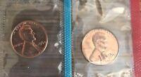 1964 P D Lincoln Cent Penny BU Mint Cello 2 coin Set