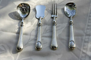 Antique French sterling silver  Hors d'oeuvre set 4 pcs Felix Malique 1890 Paris