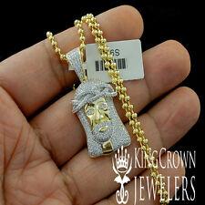 PURE SILVER MICRO PAVE LAB DIAMONDS MINI JESUS CHARM PENDANT CHAIN NECKLACE SET