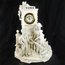 Antico CONTINENTAL Bisque BISCOTTI PORCELLANA Figura Orologio Blanc de mezza sella