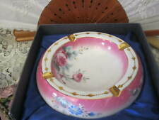 Presentti Italy Style Gold Collection Fine Porcelain Pink Roses Ashtray