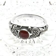 Cabochon Garnet and Marcasite Sterling Silver Ring Boho Style Vintage Size 8.5