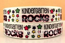 "Kindergarten Rocks grosgrain 1"" ribbon 3 yds hair bows  **CHELLE**"