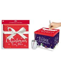 Christmas Eve Gift Box 28cm Festive Present Storage Santa & Snowman Design Kids