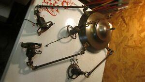 Antique Brass Arts & Crafts Chandelier & 4 Wheel Cut Globes