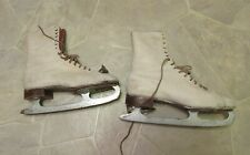 """Basco Steel Shank White Ice Skates 11"""" Long For Display Vintage"""