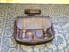 Samsonite Colombian Leather Flap-Over Laptop Messenger Bag Brown One Size - Used