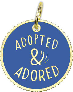 Adopted & Adored Metal and Enamel Dog Collar Charm Tag Primitives by Kathy New