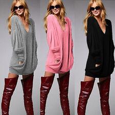 Plus Size Women Casual V neck Long Sleeve Shirt Tops Blouse Mini Jumper Dress AU