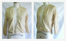 Vintage M Sweater Cardigan Fully Sequined Ivory Shimmer 1950s Cropped