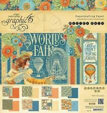 Graphic 45 WORLD'S FAIR 8x8 PAPER PAD Scrapbooking 24 Sheets 3x 8 Double Sided