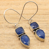 Blue Simulated SAPPHIRE Earrings ! 925 Silver Plated Over Solid Copper Jewelry