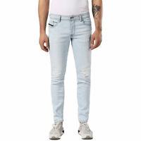 DIESEL SLEENKER 0689L Mens Denim Distressed Jeans Stretch Blue Slim Skinny Fit