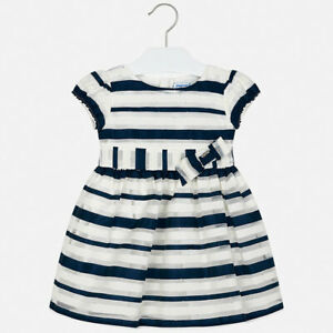 New Girls Mayoral Striped Dress With Bow, Age 2 Years, (3926)