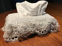 Vintage Lace Crochet Tissue Box Cover Antique Ditsy Style | Perfect Gift |
