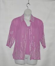 Bob Mackie Feather Embroidered Button Front Shirt w/Tank Size S Berry