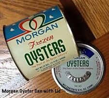RARE Vintage Morgan Brand Frozen Oysters Tin Oyster Can VA 92 Net Wt. 12 oz.