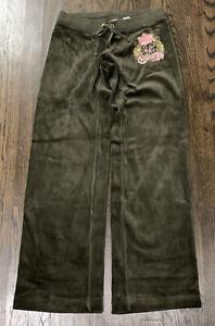 Juicy Couture Olive Green Velour Wide Leg Track Pants Sweatpants Size P (0)