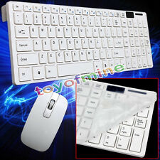 Slim White Wireless Keyboard and Cordless Optical Mouse for PC Laptop Win7/8 AU