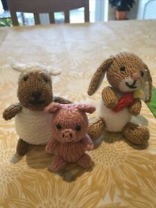 Hand Made Knitted Rabbit / Piglet / Sheep Characters (x3) Toys New