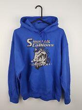 Vintage Mens Usa Azul Deportes Atléticos Pro College Sudadera con capucha de sobrecarga Reino Unido M
