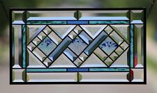 👀 Beveled Stained Glass Window Panel, Hanging, Fused accents •Ocean •