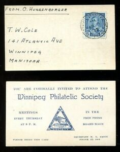 p150 - WINNIPEG Philatelic Society 1935 Business Card - Mailed with #214