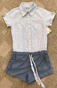Derek Heart Women's Small S Short Sleeve One Piece Cotton Shortall Blue Romper