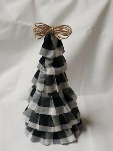 "Farmhouse Christmas Tree White/Black Buffalo Check decor 10.25"" X 5.5"""